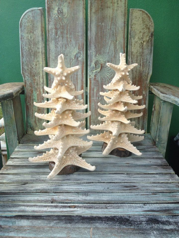 Beach Decor / Starfish Christmas Trees with by GreenLifeUSA