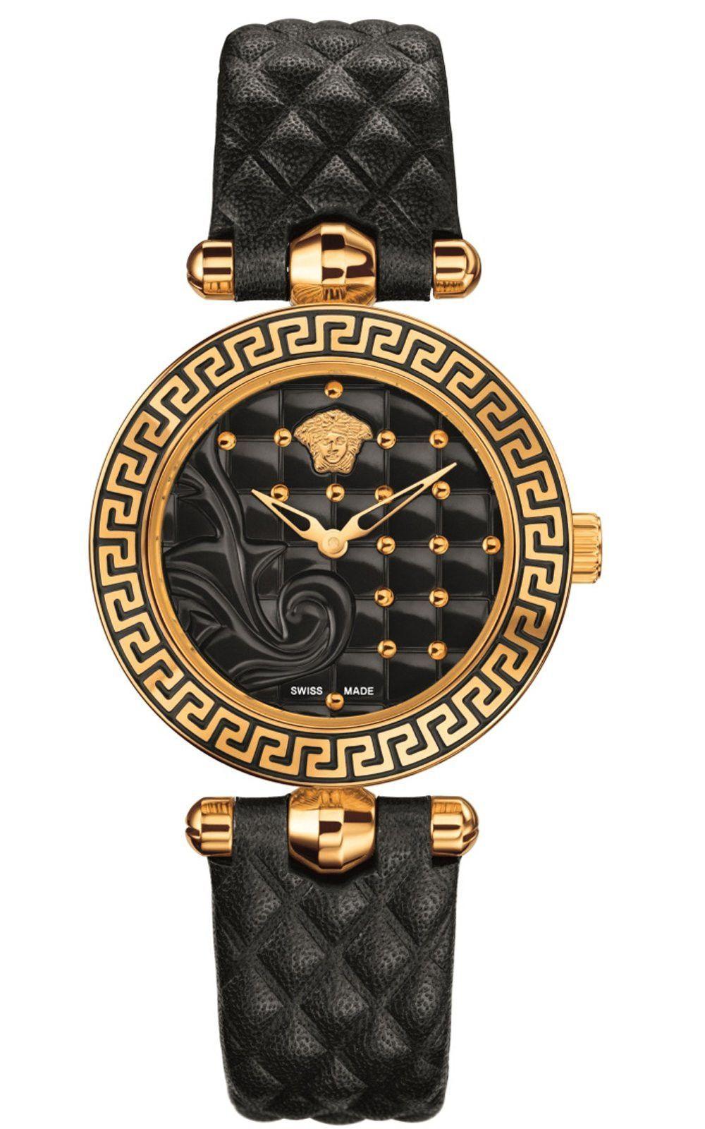 Mini vanitas micro analog display swiss quartz black watch vqm