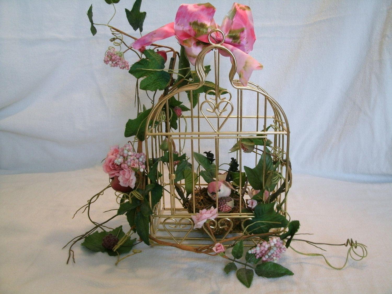 Birdcage Floral Arrangement Cottage Chic Mothers Day Wedding Home Decor Centerpiece Table