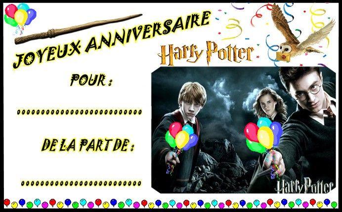 Etiquettes invitations Harry Potter pour anniversaire | Activité anniversaire, Carte invitation ...