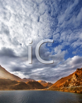 iCLIPART - Autumn clouds over mountain lake