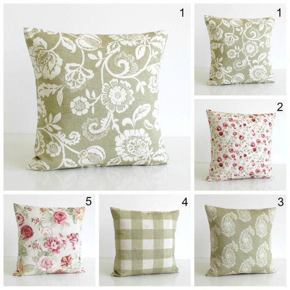 Case Shabby Chic Country.Green Cushion Cover 10x10 Pillow Cover Shabby Chic