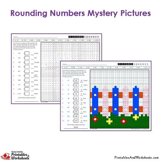 3rd Grade Rounding Mystery Pictures Coloring Worksheets 3rd Grade