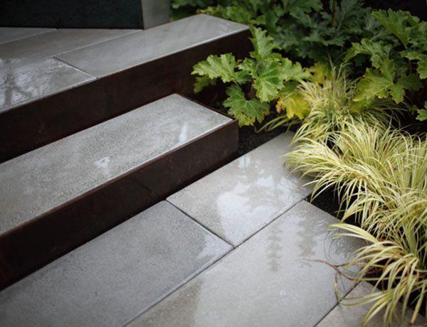 Precast Concrete Pavers Steel Risers Modern Landscape Seattle