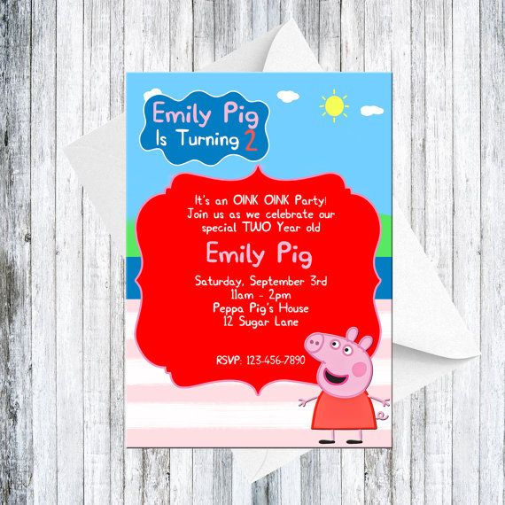 Peppa Pig Invitation  DIGITAL by TheCuteKoala on Etsy