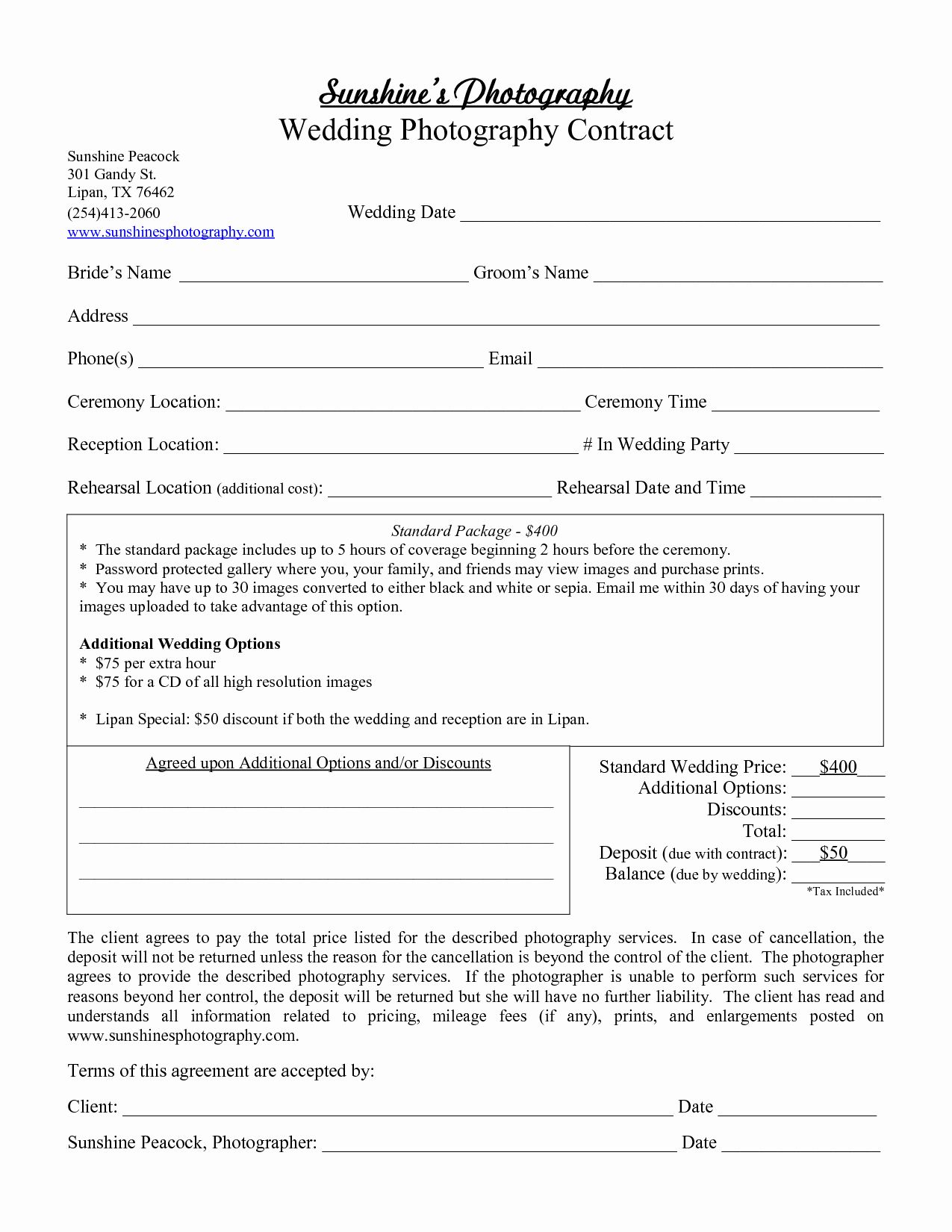 Free Wedding Photography Contract Template Luxury Graphy