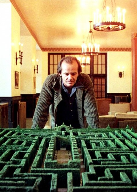 Jack Nicholson on the set of SHINING