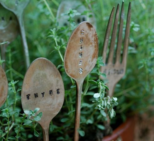 Old silverware become garden markers!