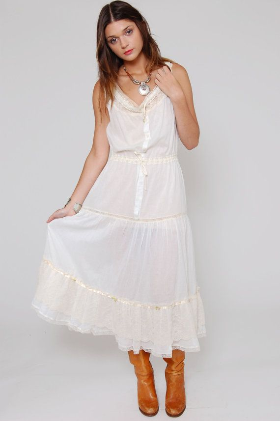 351346a27b3 Vintage 80s White Lace Prairie Slip Dress by LotusvintageNY