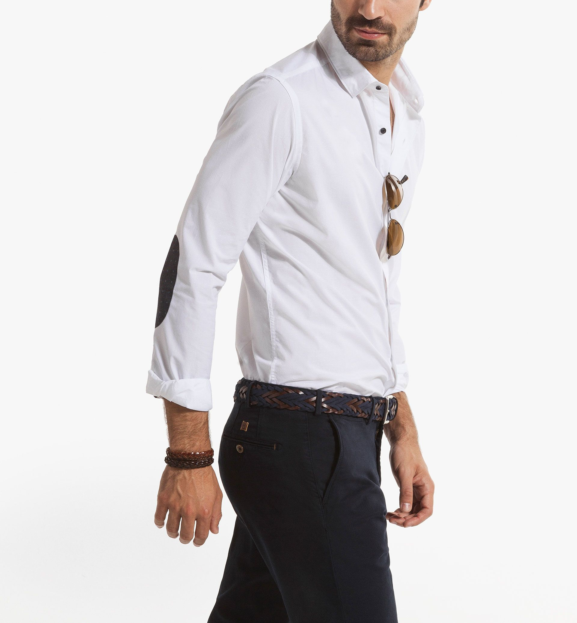 Slim Fit Structured Shirt With Elbow Patches Men 39 S