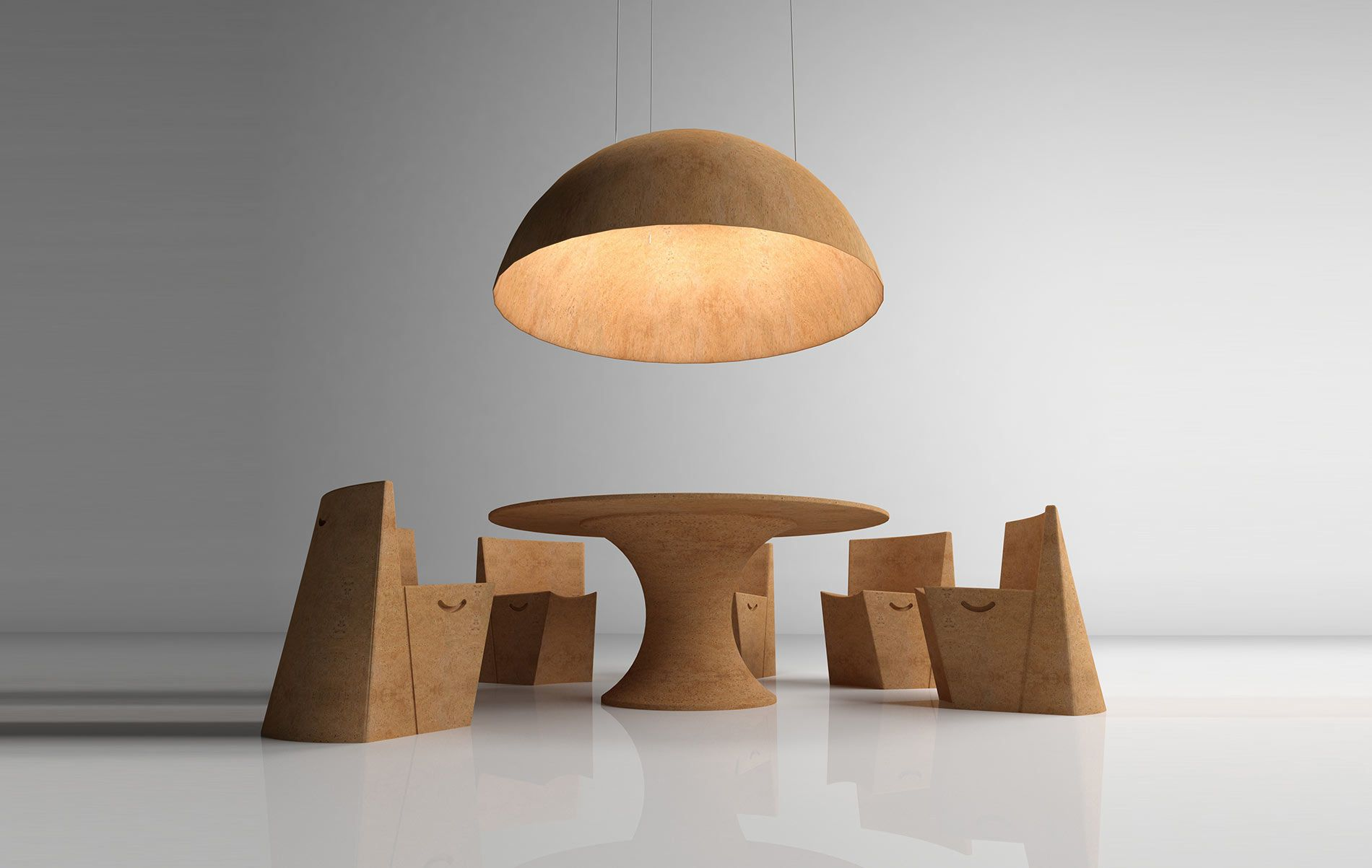 Albertina Oliveira   Portugal All Natural The Ayers Cork Furniture  And Lighting Set 3