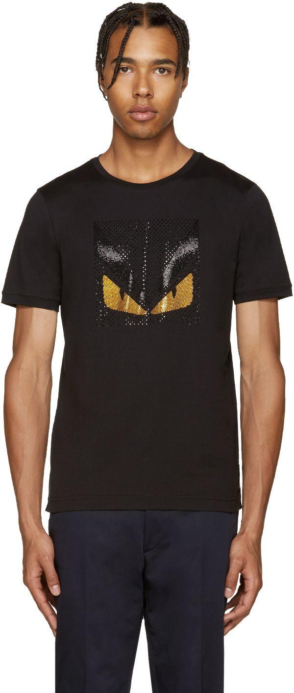 ab5e8497183d Fendi  Black Crystal Monster T-Shirt
