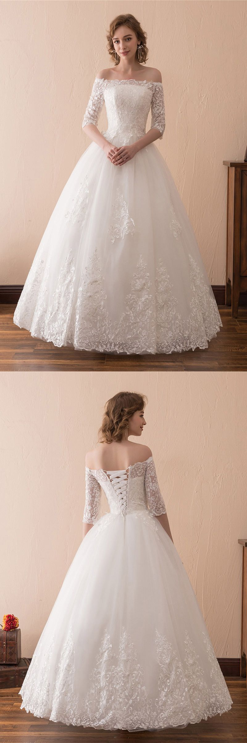 Off The Shoulder Lace Ballroom Wedding Dress With 1/2 Sleeves ...