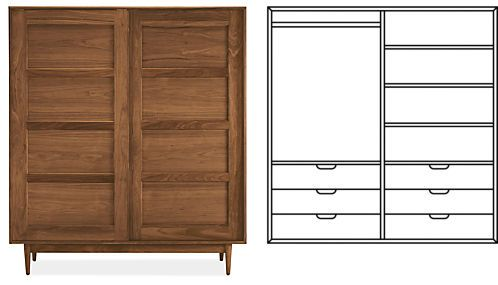 Grove Anywhere Armoire With Short Wardrobe U0026 Six Drawers In Walnut    Armoires   Bedroom