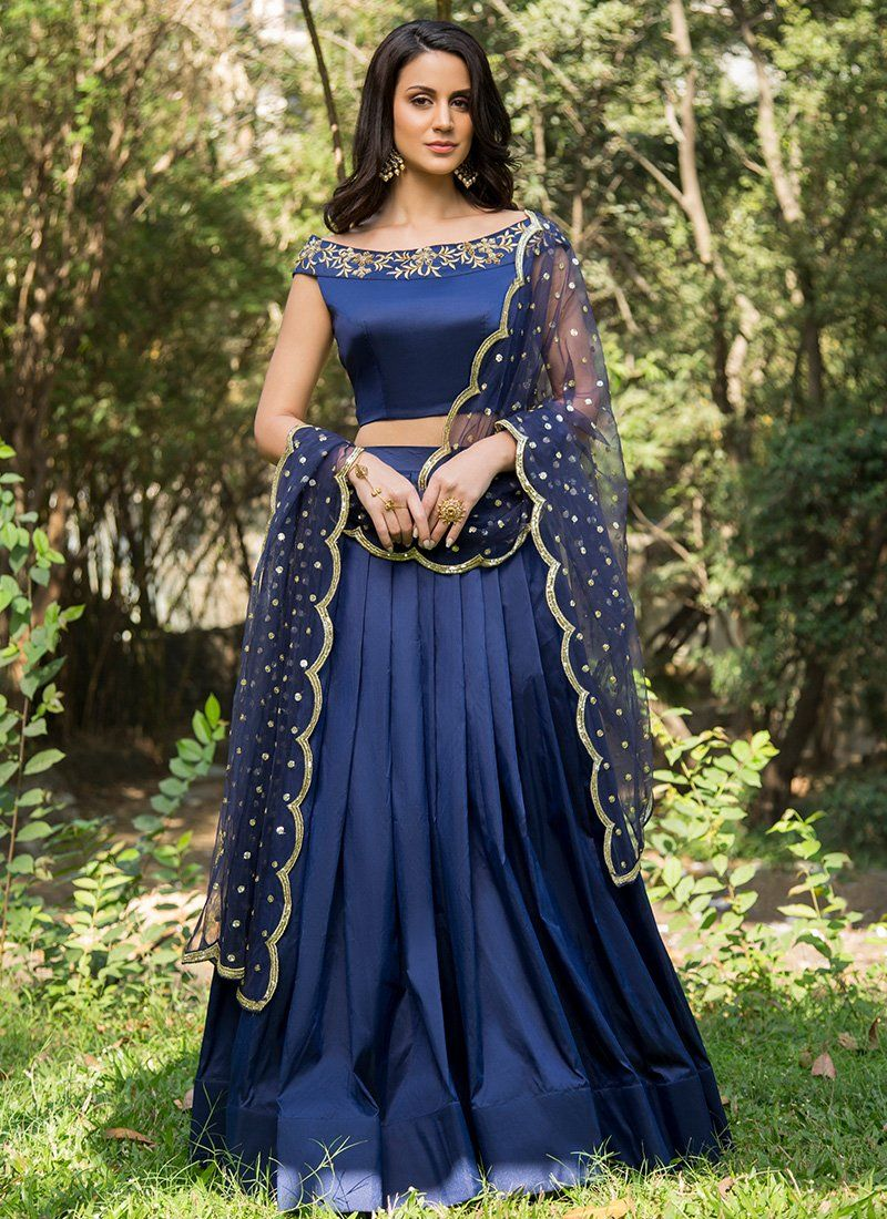 b72512e8b7f Royal Blue and Gold Embroidered Off Shoulder Lehenga. Designer Lehenga  choli online at best ...