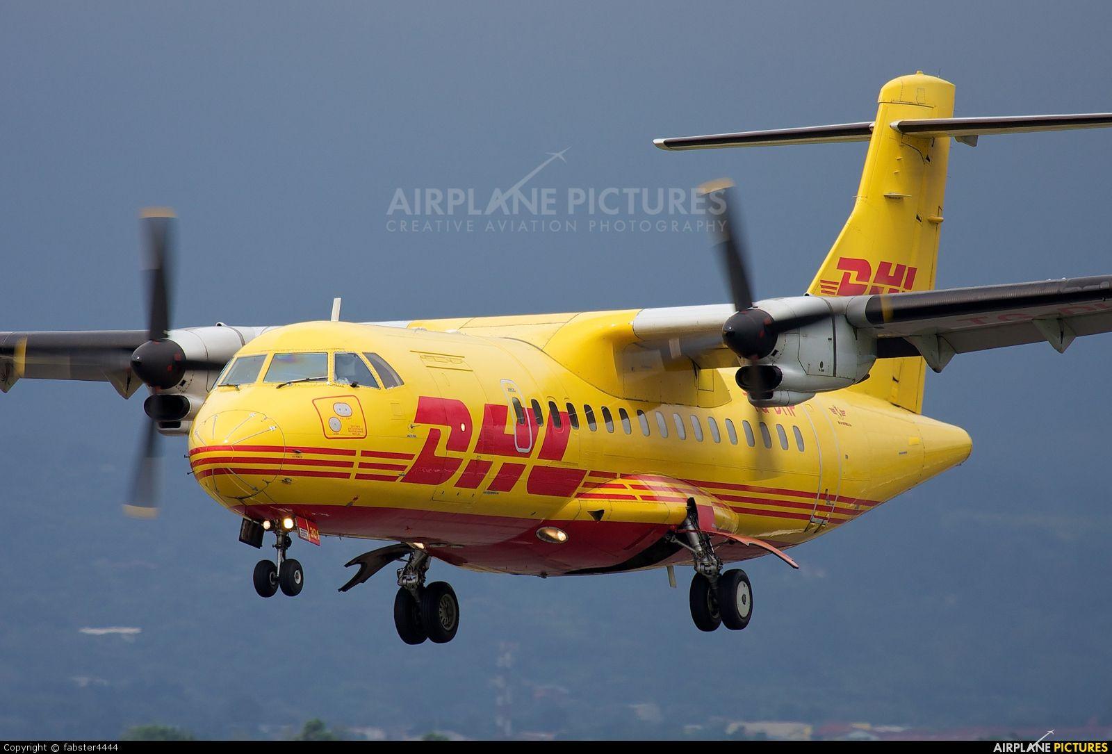 DHL Cargo ATR 42 TG-DHP aircraft at San Jose - Juan