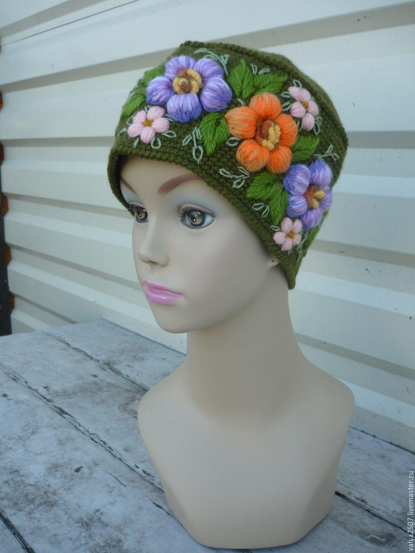 Купить шапка с вышивкой - комбинированный, цветочный, шапка, берет, шапка вязаная, шапка женская