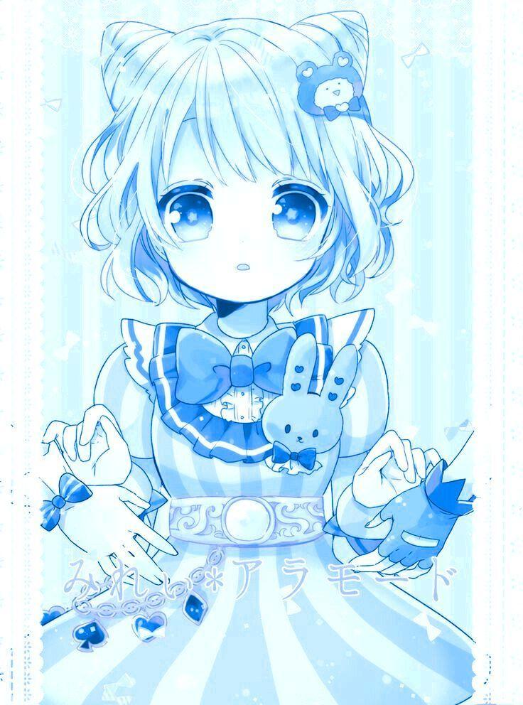 aesthetic anime art blue cute cystal girl