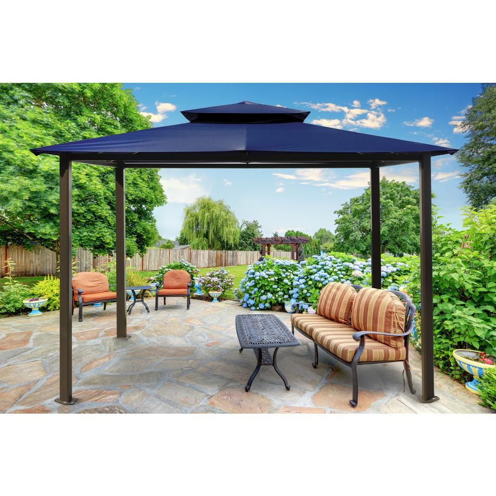 Paragon Outdoor Paragon Gazebo 10 ft. x 12 ft. with Navy ...