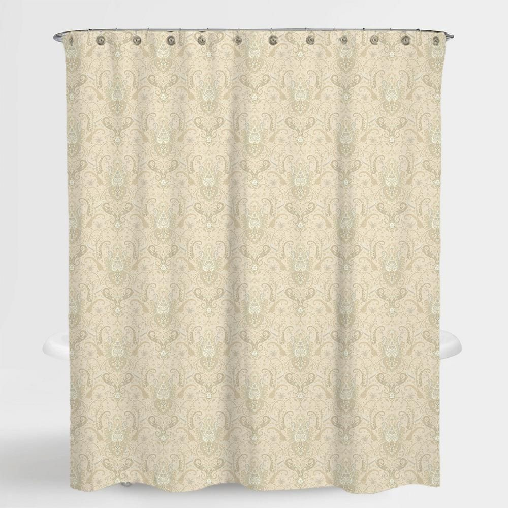 A1 Home Collections 72 In X 72 In Royal Paisley Beige Lucia Water Repellent Shower Curtains With Rings Fabric Shower Curtains Striped Shower Curtains