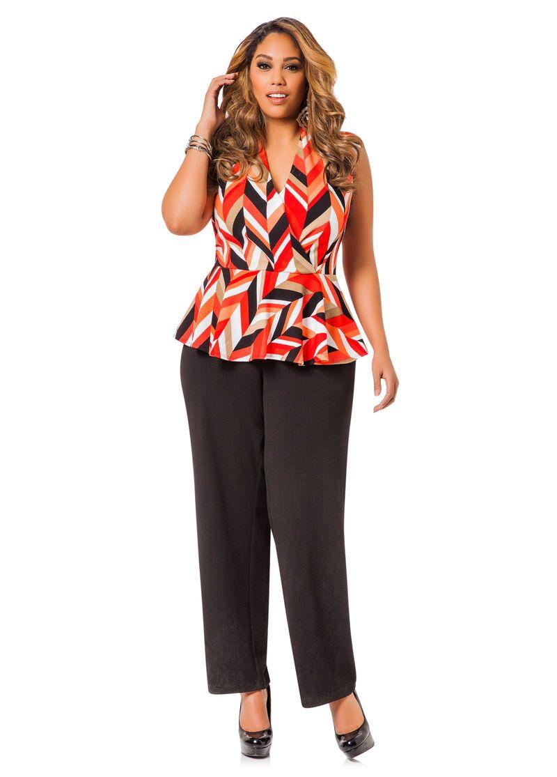 485c73a610d Colorblock Peplum Waist Jumpsuit - Ashley Stewart