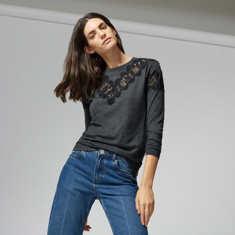 Warehouse, LACE INSERT JUMPER Dark Grey 1 | High Street Fashion ...