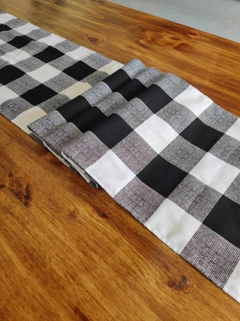 Black and white buffalo checker table runner traditional