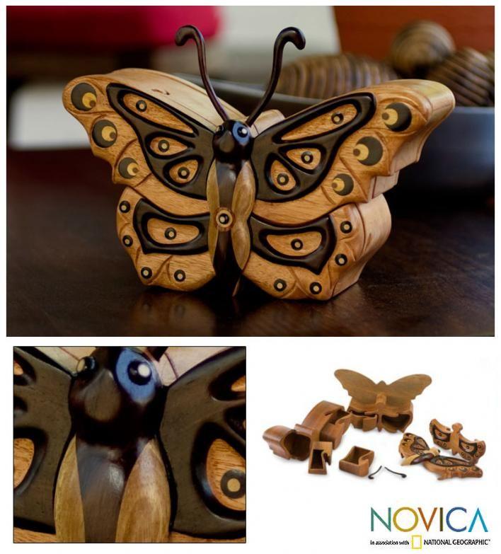 Mahogany puzzle box, 'Atitlan Butterfly' | GonPin.me