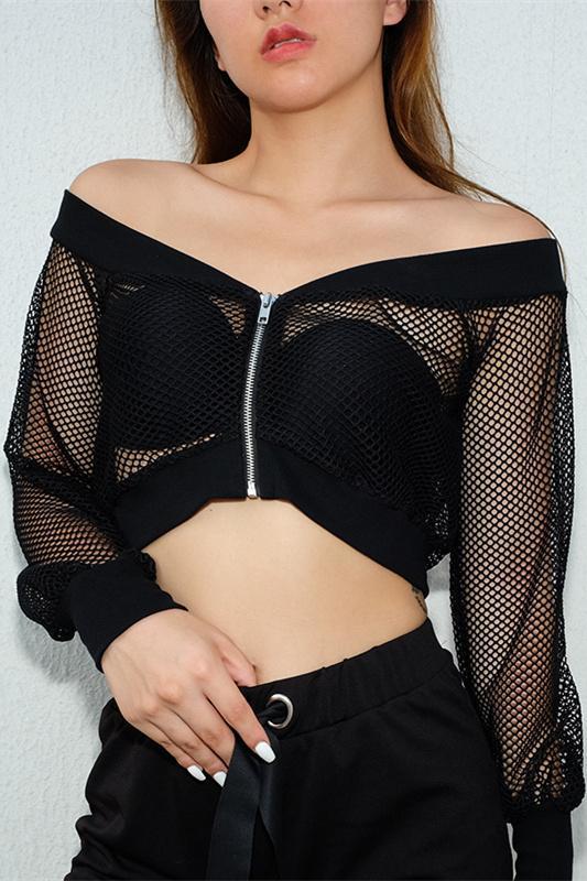 631de7bd97adf1 Slash Neck Fishnet Long Sleeve Crop Top – Lupsona