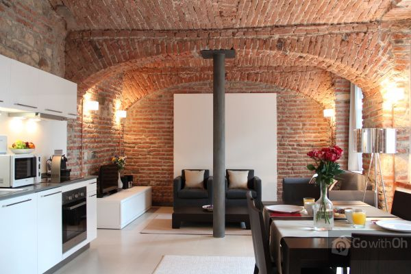 This Contestant Wants To Visit Prague This Apartment Is Gorgeous With Its Brick Walls I Love The Decor Prague Apartment Duplex Apartment Stylish Apartment