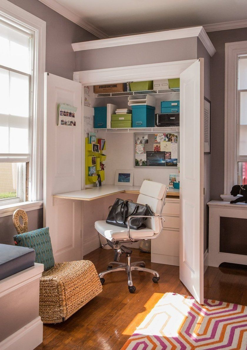 small closet office ideas. Create A Space To Work At Home In Style: Modern DIY Desk Ideas. Small Closet Office Ideas M