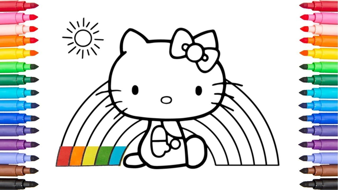 Coloring hello kitty rainbow coloring pages for kids candy