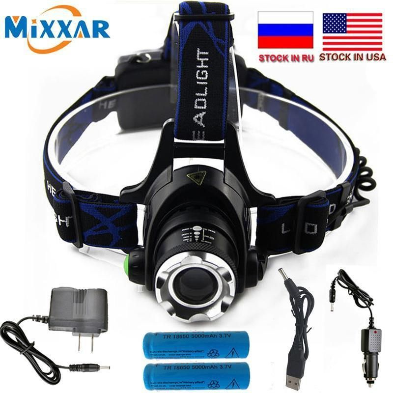 6000 Lumen XM-L LED Rechargeable Headlamp+Battery+charge Headlight Head Torch TR