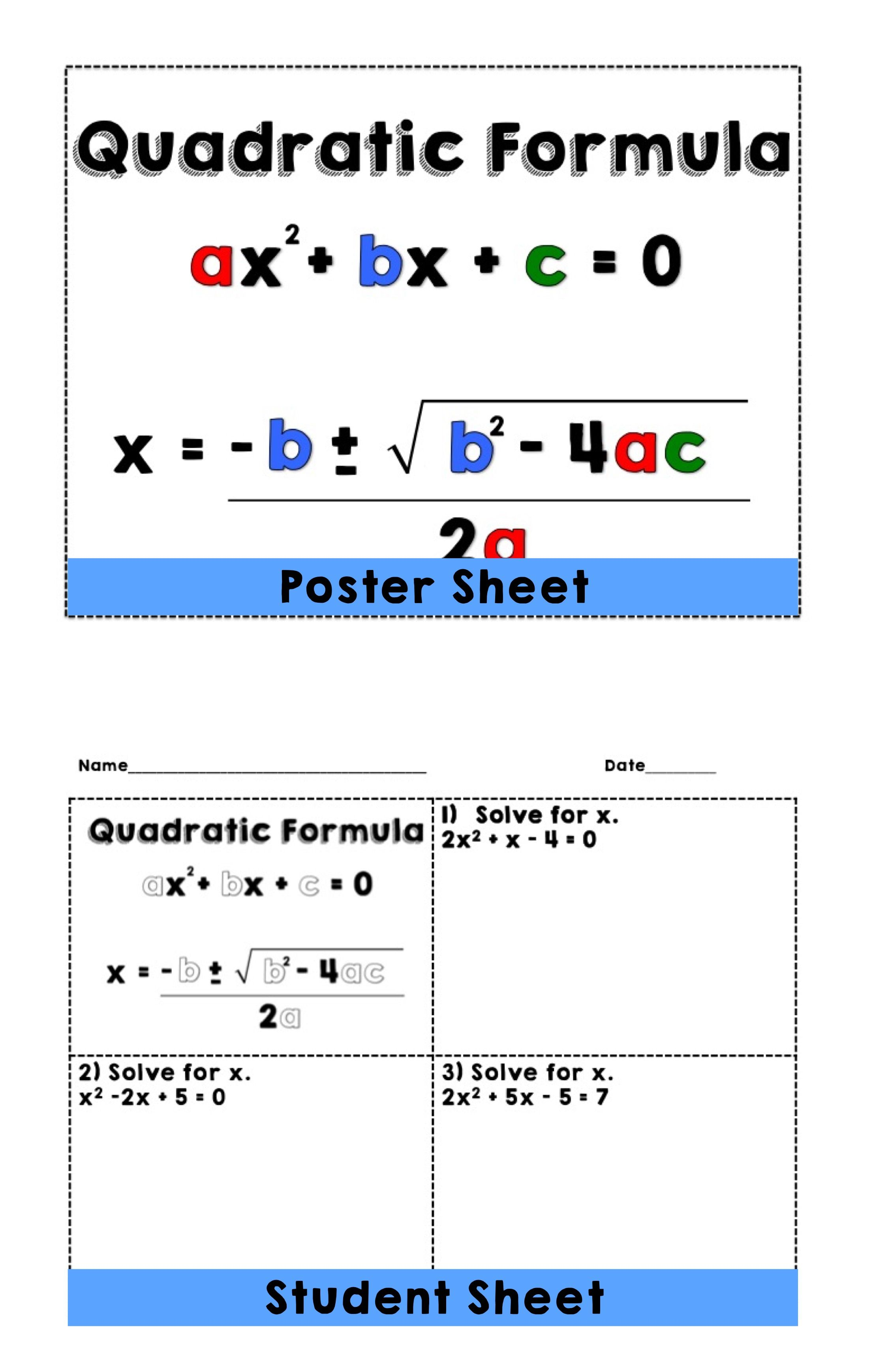 Quadratic Formula: Posters and Reference Sheet | Teaching ...