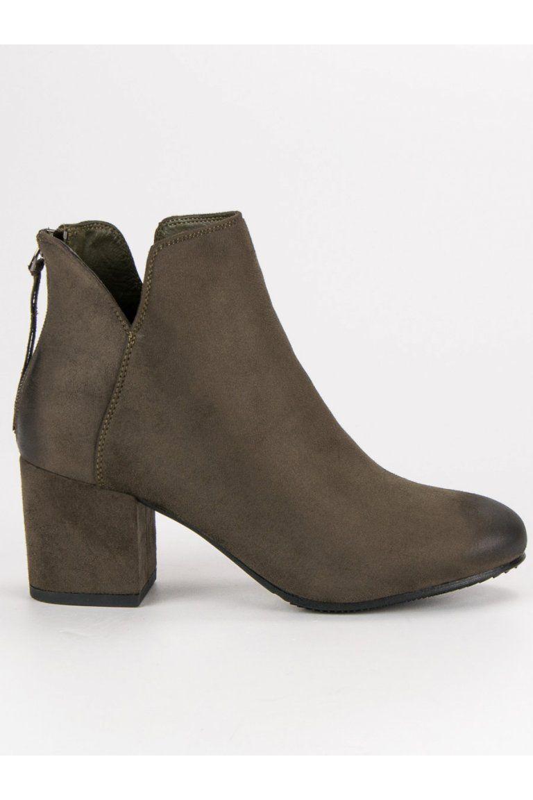 Zelené topánky pre ženy členkové čižmy VINCEZA  6cf0d7f710c