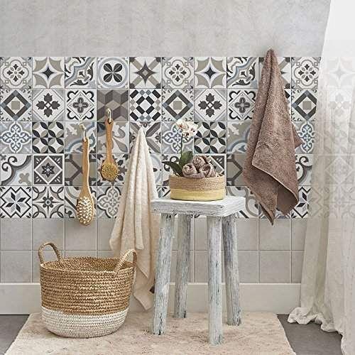 36 carrelage adhésif 15x15 cm - PS00089 - Braga - Adhésive décorative à carreaux pour salle de bains et cuisine Stickers carrelage - collage des tuiles adhésives