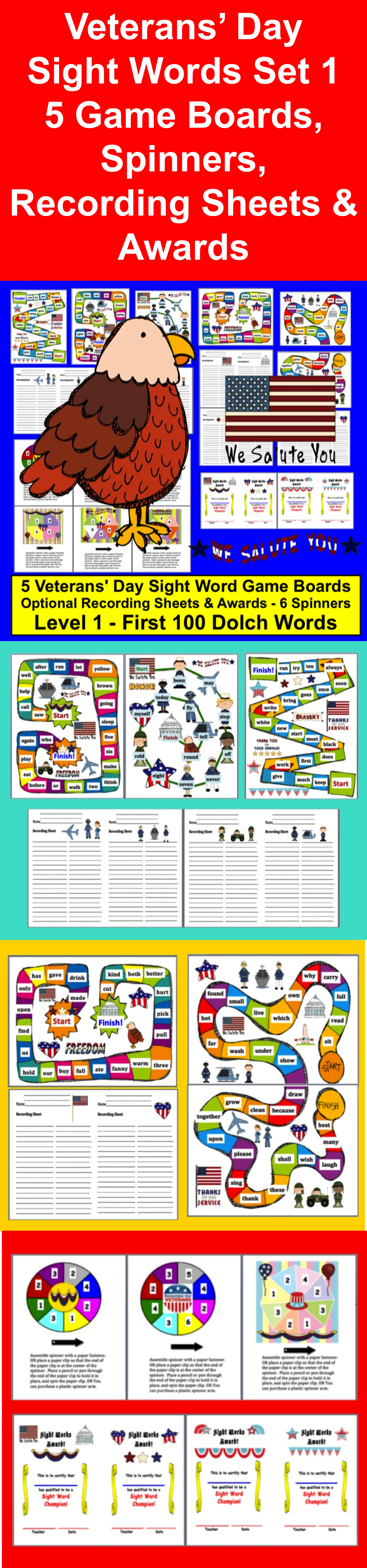 Veterans Day Sight Words Game Board Activities