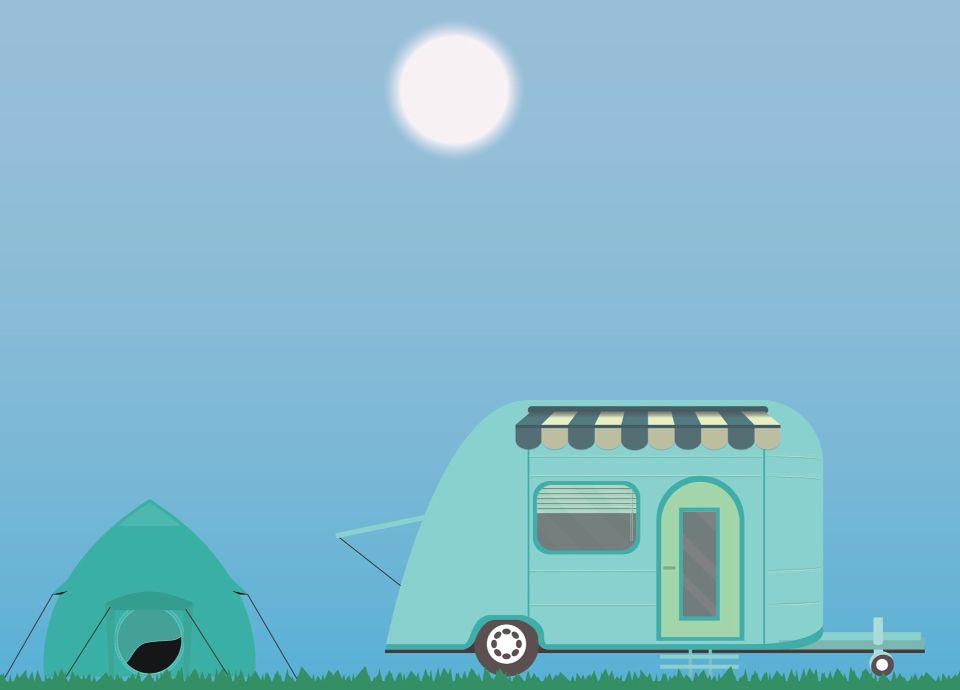 Graphic design, graphics, camper, tent, holiday,