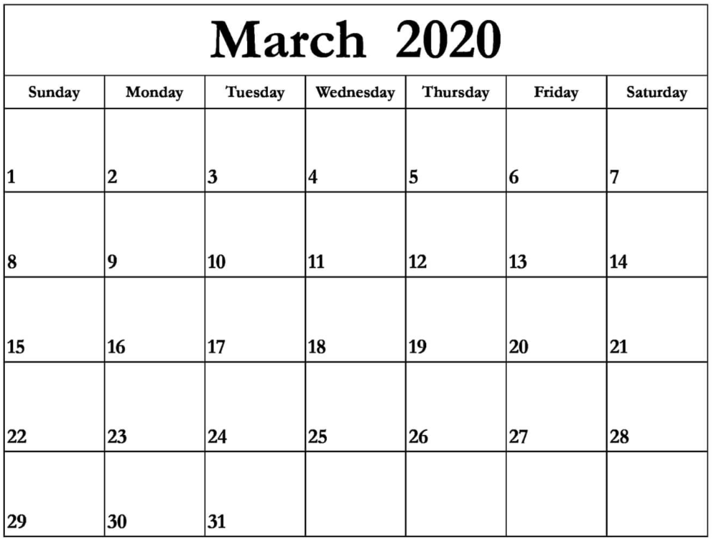 March 2020 Calendar Us Free Printable Calendar 2020 In 2020