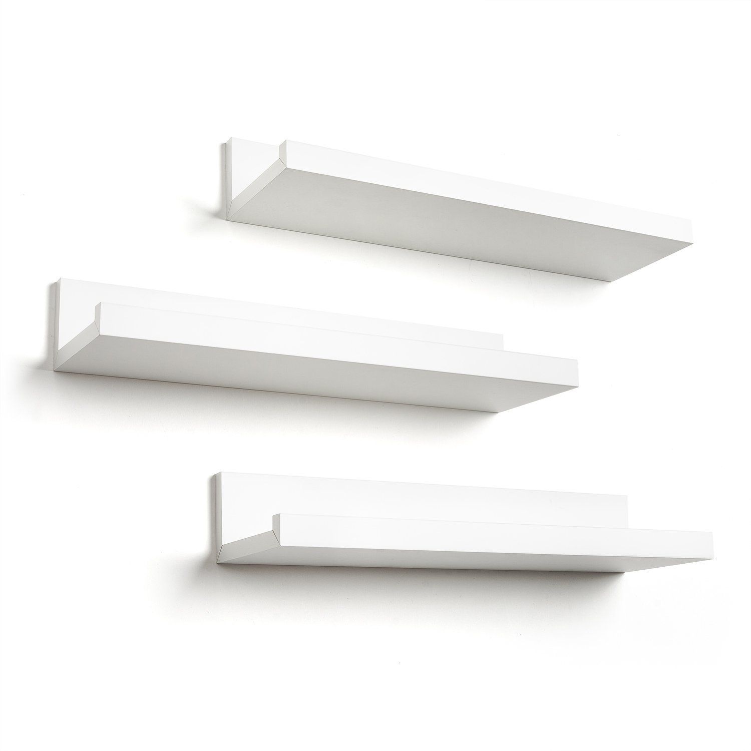Set Of Three 14inch Floating Wall Shelves By Americanflat White Click Image For More De Floating Wall Shelves Floating Wall Shelves White Wall Shelf Display