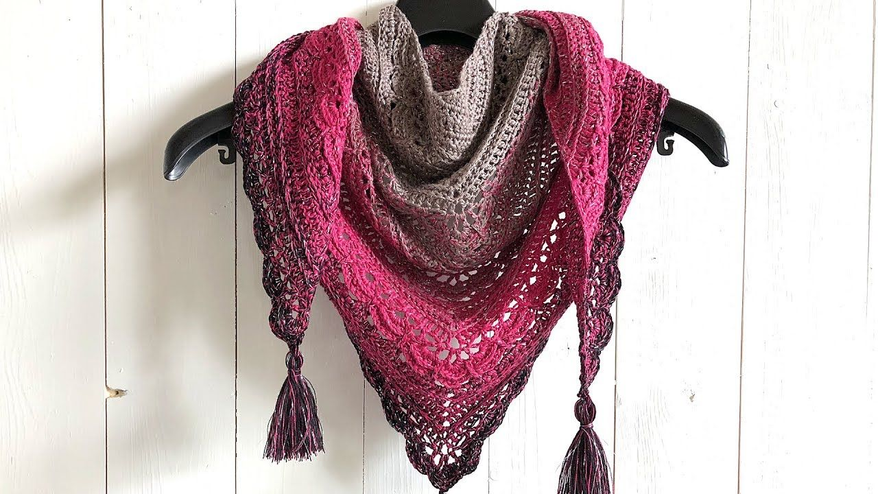 ANA LUCIA SHAWL - FREE TRIANGLE SHAWL CROCHET PATTERN - YouTube ... 683f0cc8b1