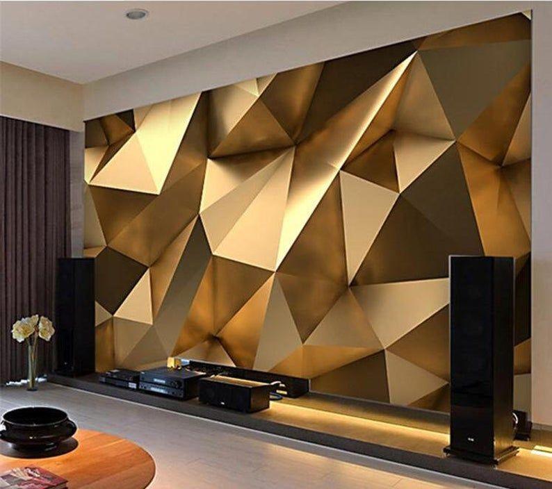 Custom Fashion Personality Wallpaper Gold Minimalist Geometric Etsy Geometric Living Room 3d Wallpaper Living Room Geometric Shapes Wallpaper Cool wallpaper for living room