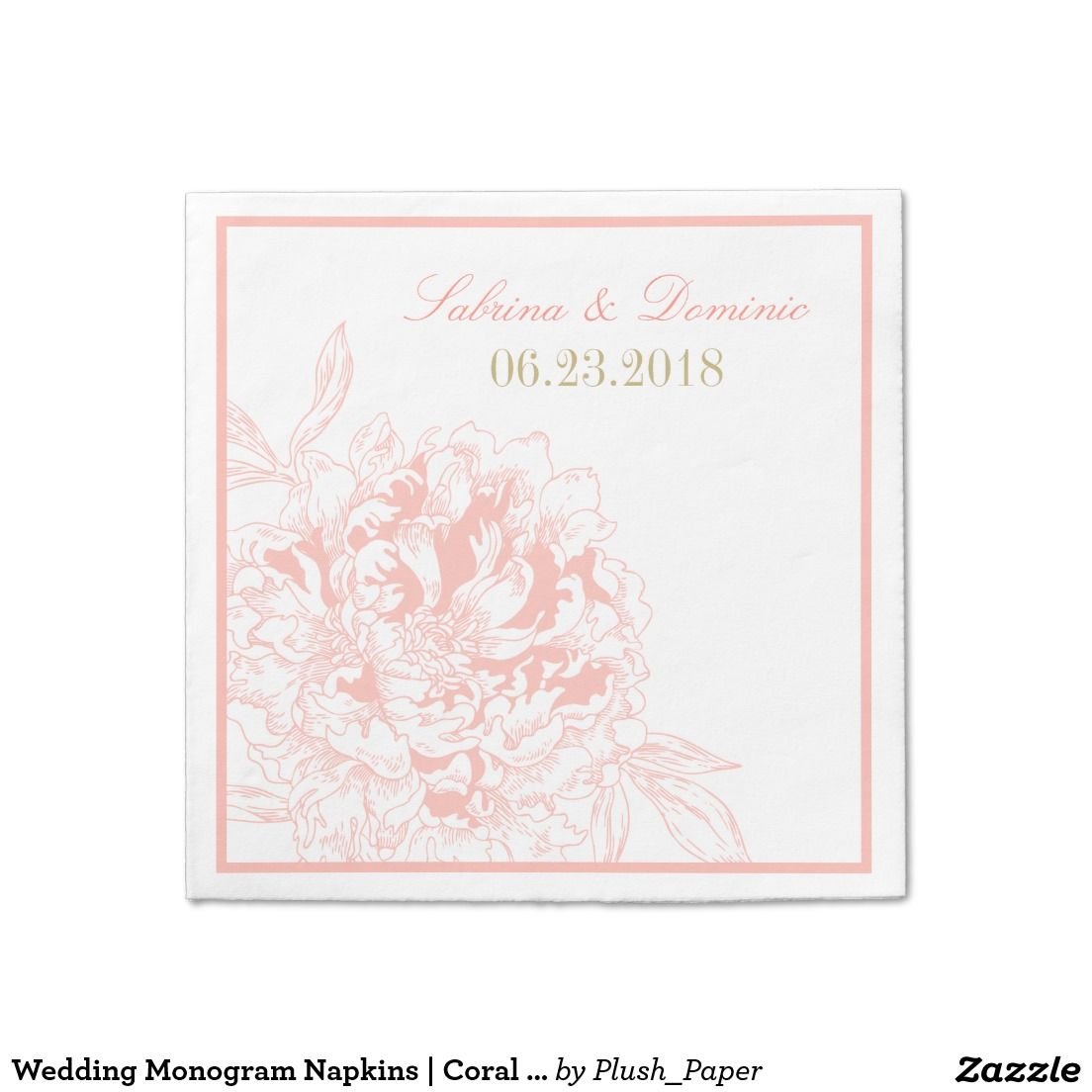 Wedding Monogram Napkins | Coral Peony Design