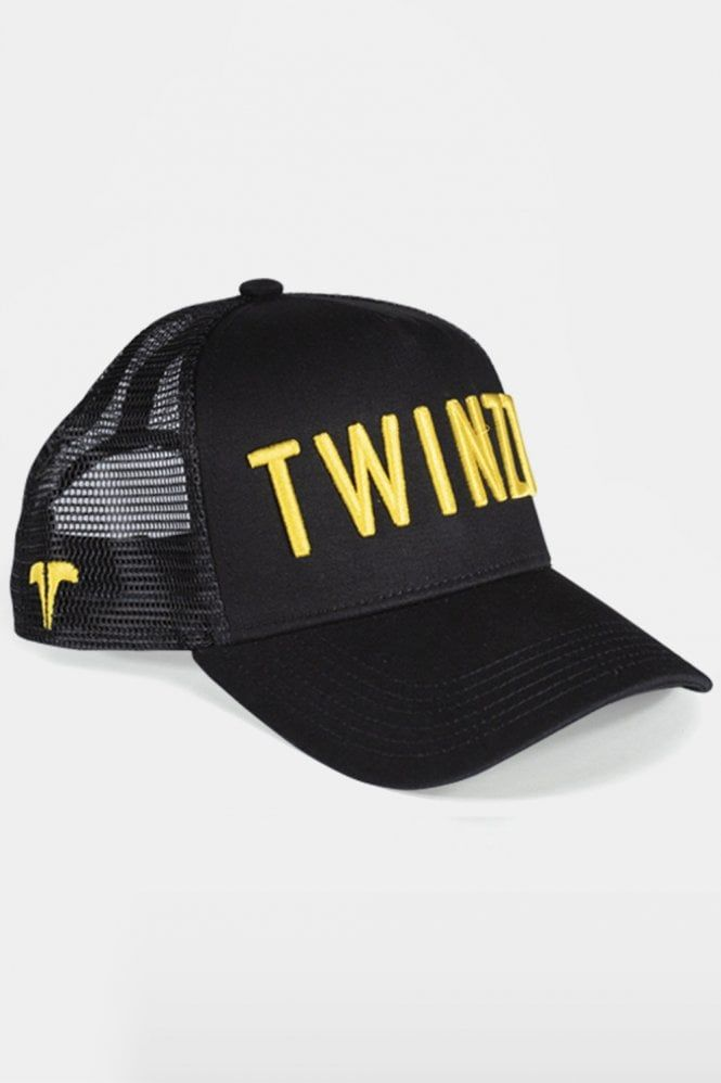 3D Mesh Trucker Cap Black Yellow  Headwear  Twinzz  7a0bdaec9e
