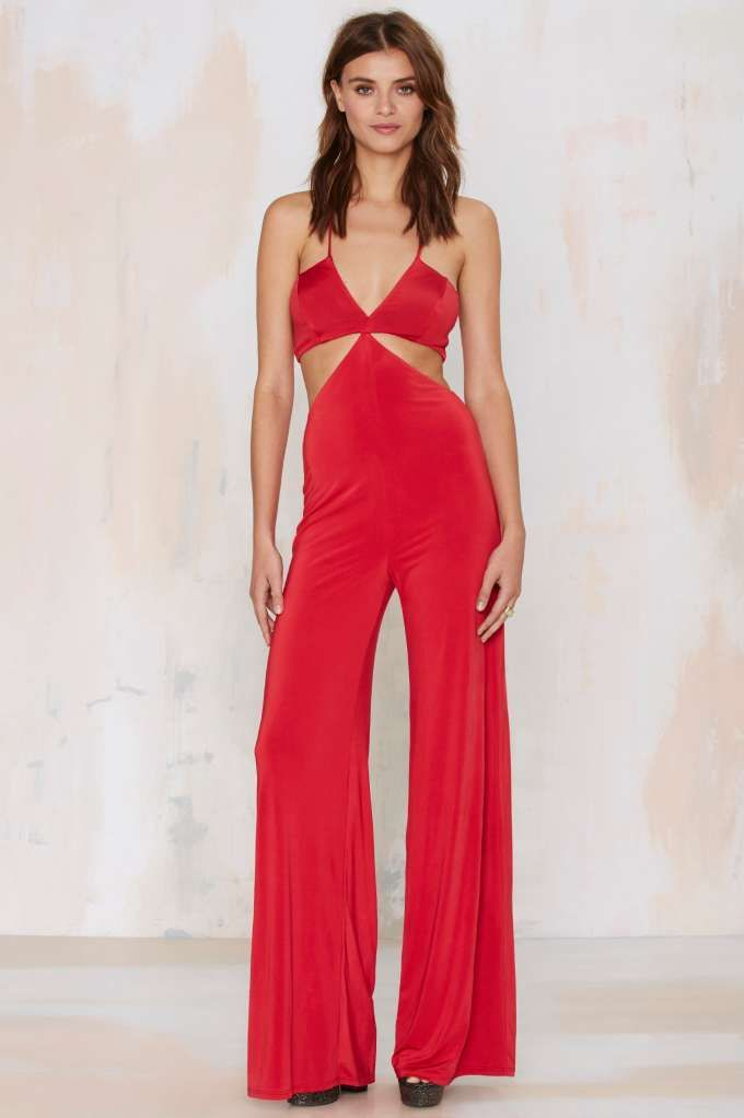 Nasty Gal Frisco Inferno Knit Cutout Jumpsuit - Red - Rompers + Jumpsuits | Rompers + Jumpsuits ...