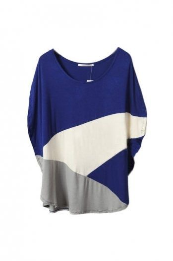 Mixed Colour Montage Batwing Blue T-shirt(Coming Soon) [NCTJ0308] - $23.99 : - StyleSays