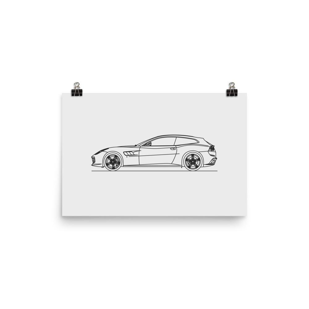 GTC4 Lusso Minimal Line Art (photo paper)