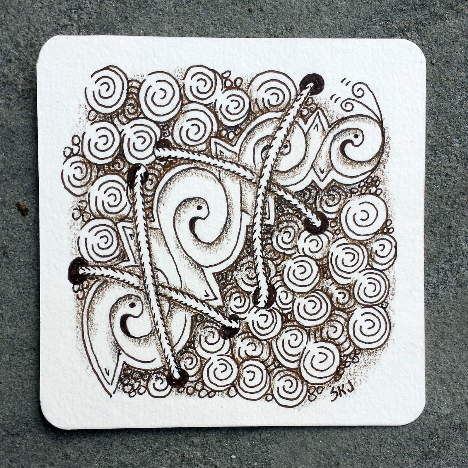 Trying out a new tangle here. It\'s called Wibble from Shawna ...
