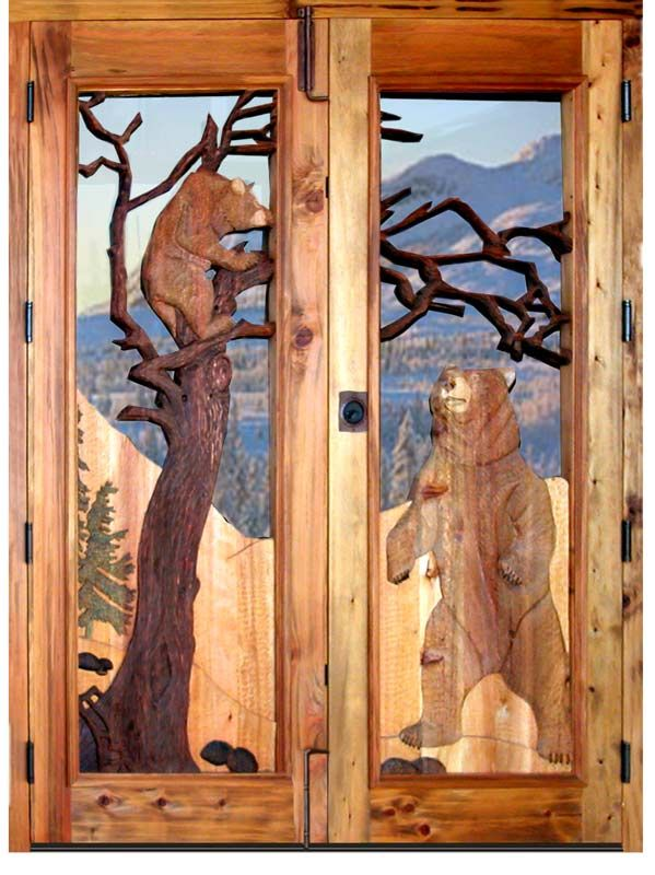 Doors bears at play grizzly bear 20th cen america for Wood carving doors hd images