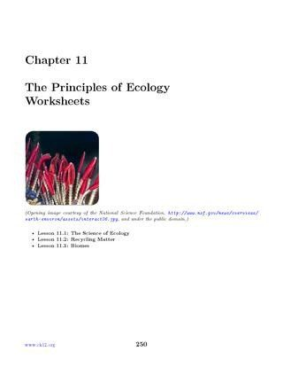Principles Of Ecology Worksheet Answers Chapter 11 Ck 12 ...